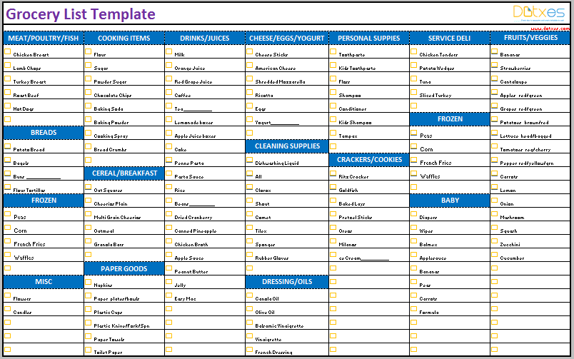 Grocery list template (excel)