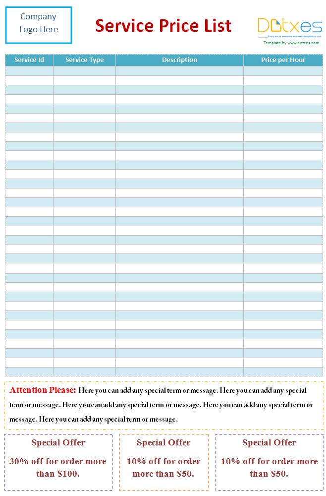 Printable Service Price List Template