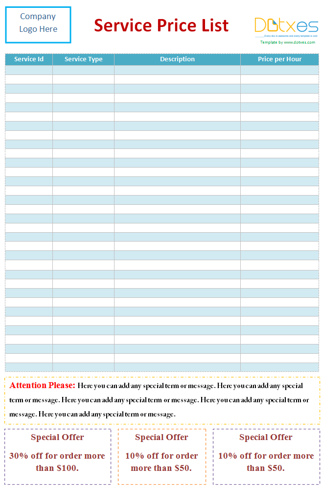 service price list template  word