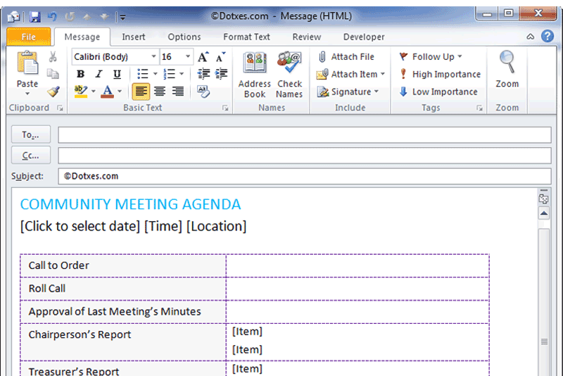 community meeting agenda template for email dotxes