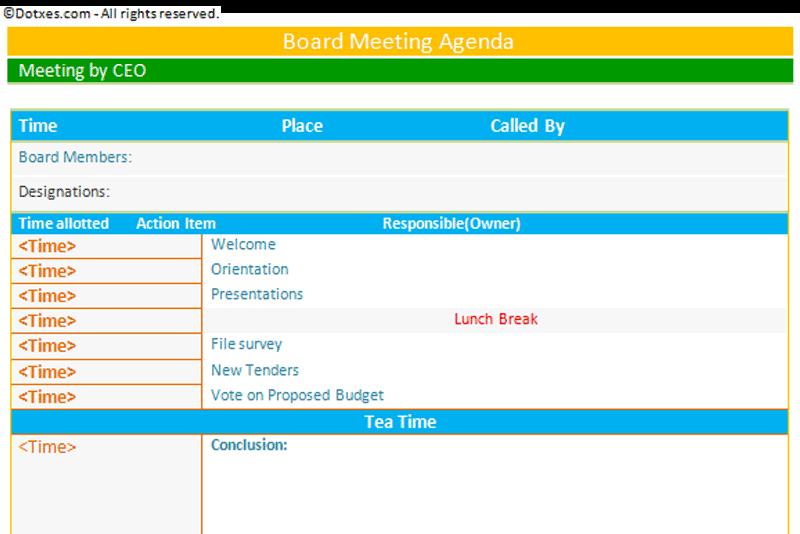 Doc427561 Professional Agendas Doc427561 Professional Agendas – Professional Meeting Agenda Template