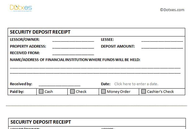 Tenant Receipt Deposit Template Tenant Security Refundable – Tenant Receipt