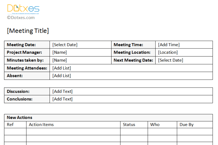 minutes of meeting sample  with action item list