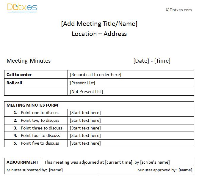 Basic meeting minutes sample