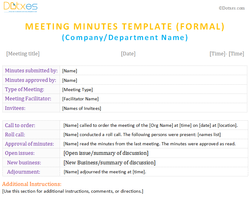 meeting minutes form for microsoft word