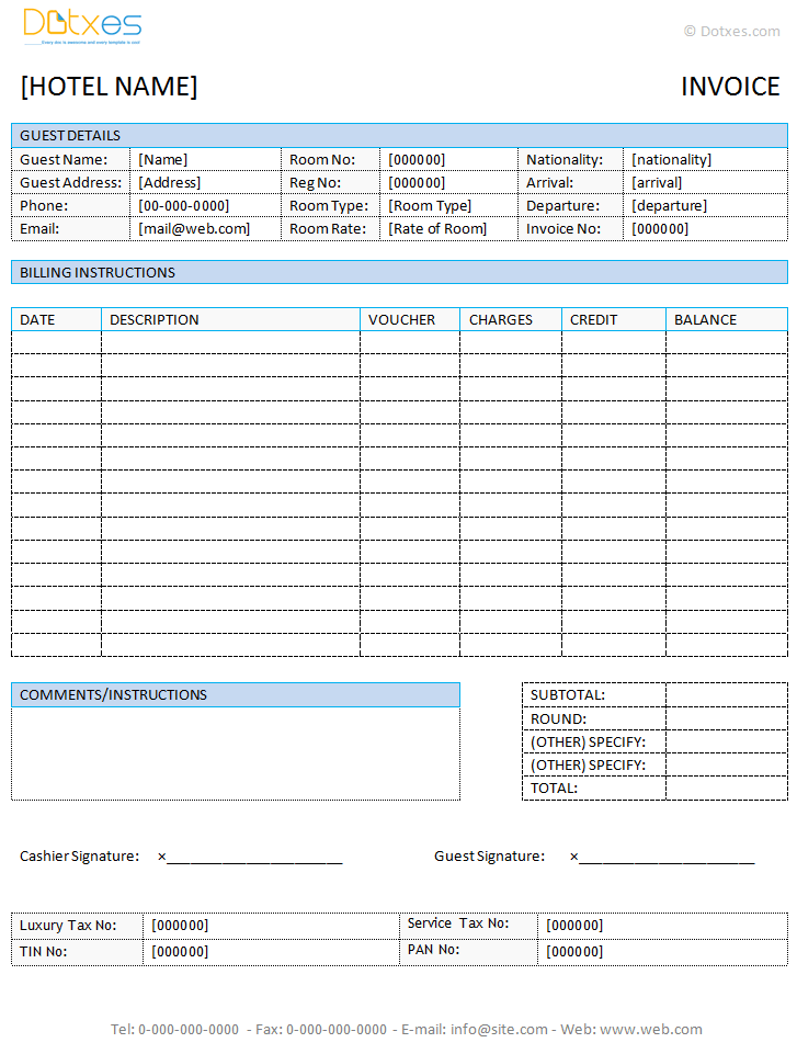 Hotel Receipt Template Word. Hotel Invoice Template In Microsoft