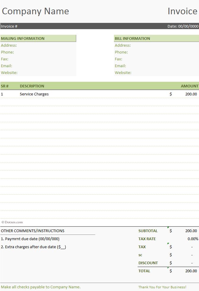 Simple Invoice Template 1 1 Dotxes