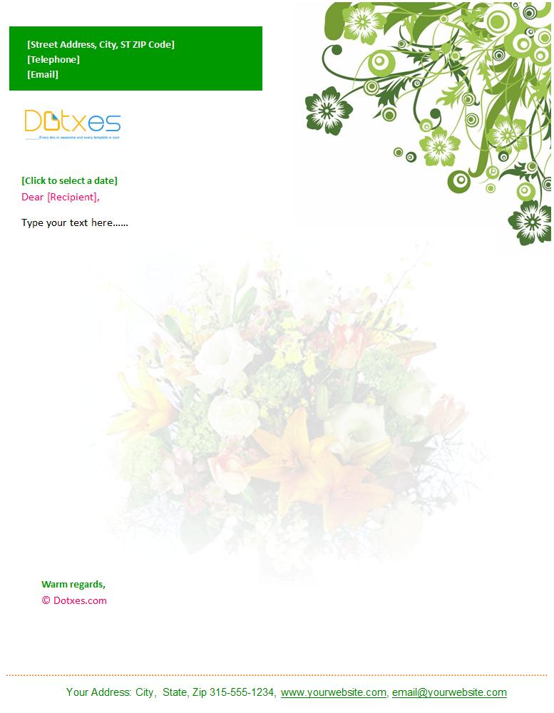 Floral Letterhead Template in Green Flower Design