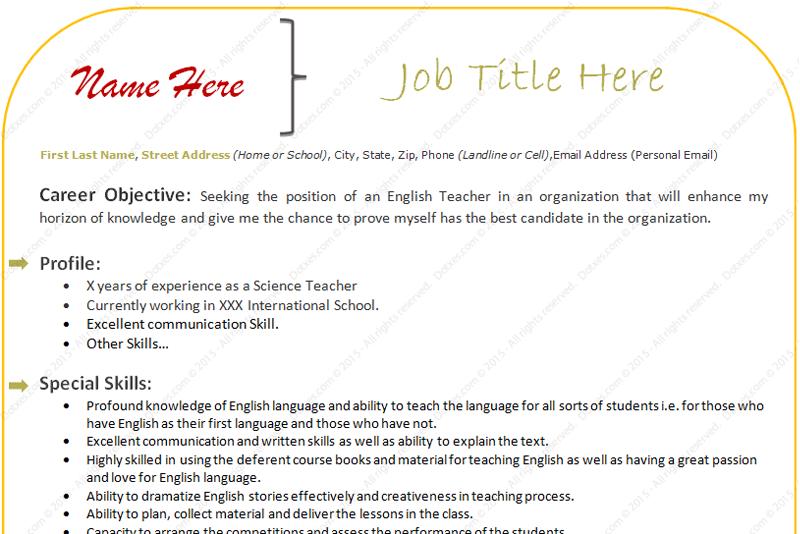 sample resume format for experienced teacher