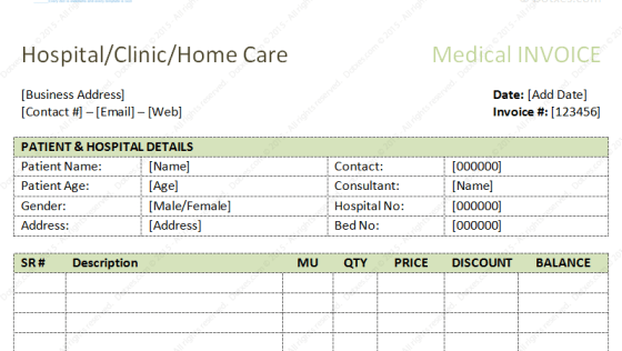 medical invoice template excel – residers, Simple invoice
