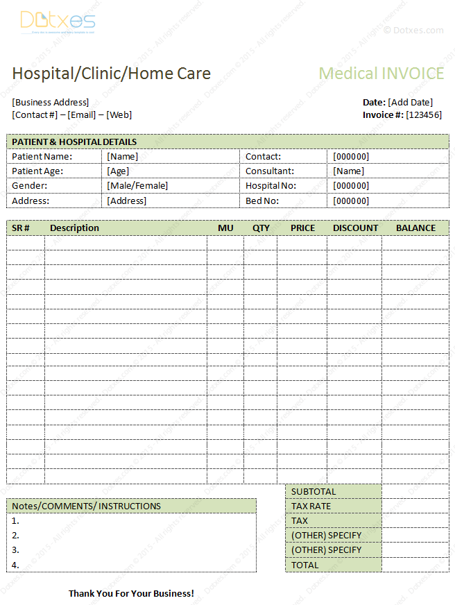 medical bills format in Microsoft Word