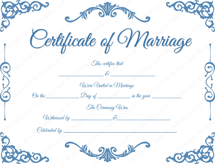 Printable Traditional Corner Marriage Certificate