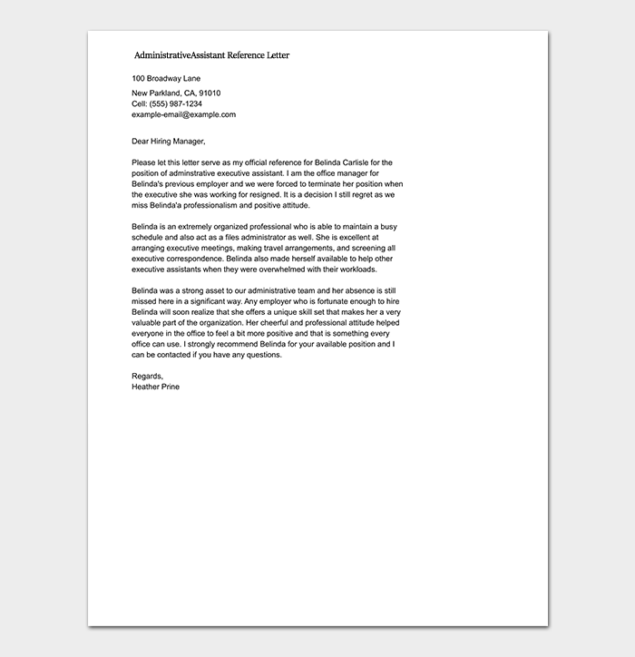 Administrative Assistant Reference Letter Template