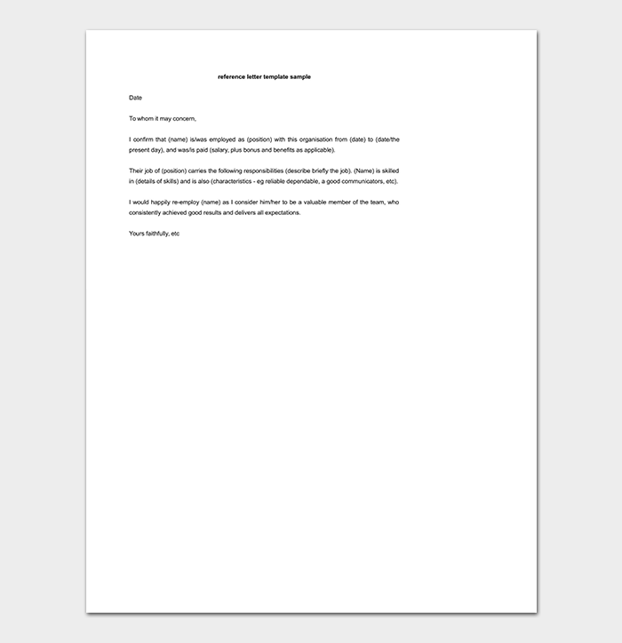 Editable Reference Letter Template