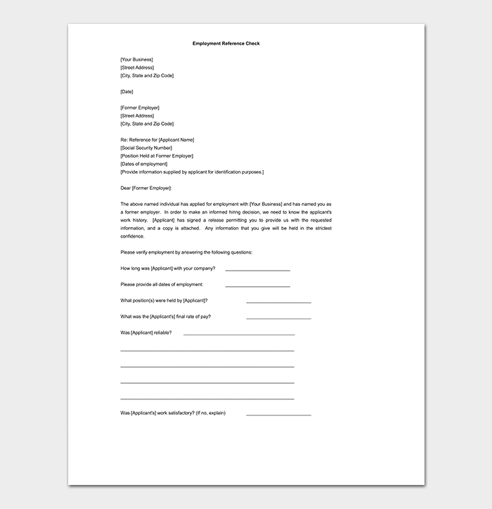 Employer Reference Check Letter Template