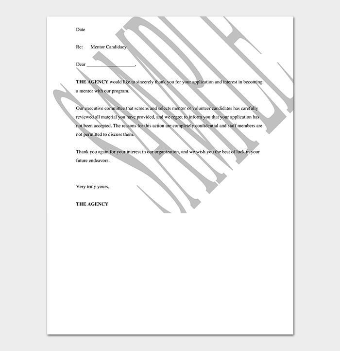 Mentor Volunteer Rejection