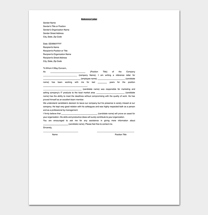 Reference Letter Template WORD