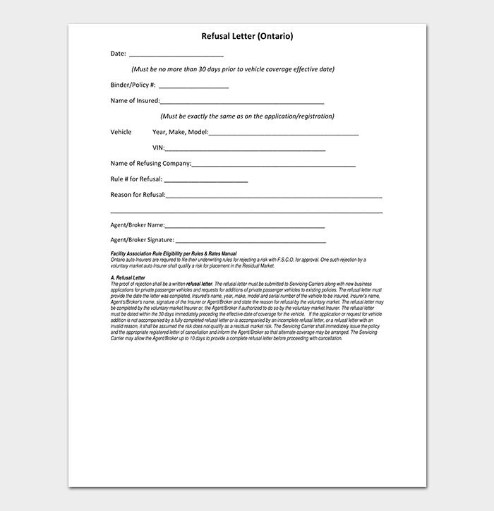 Refusal Rejection Letter