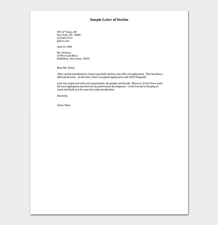Sample Letter of Decline