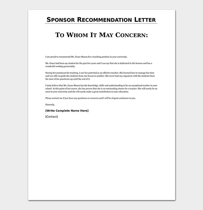 Sponsor Recommendation Letter Template