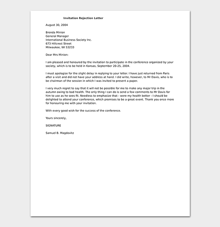 Invitation Rejection Letter