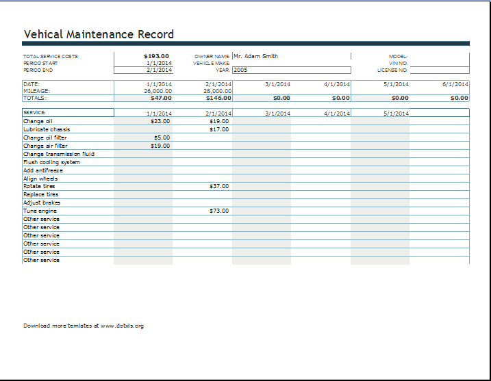 fleet vehicle maintenance log template