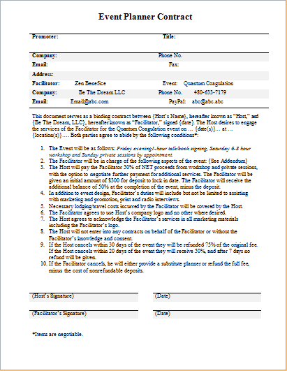 Event Coordinator Contract Template event planner resume – Event Coordinator Contract Sample