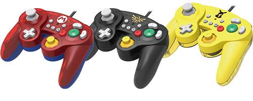Hori's GameCub-like Switch controllers for Super Smash Bros. Ultimate.