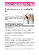 Relationship Insecurity And Mending The Rift.