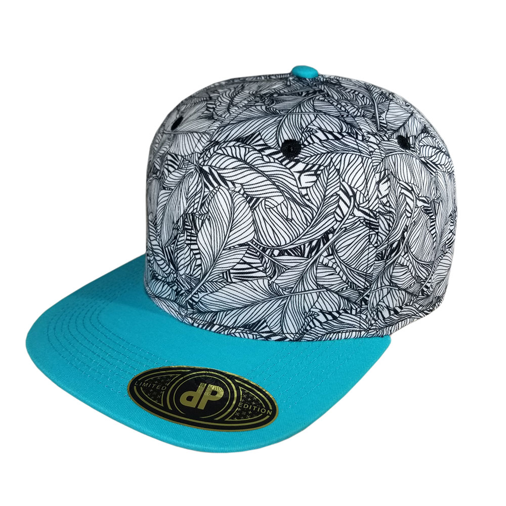 Banana-Leaf-White-Mint-Pattern-Snapback-Hat
