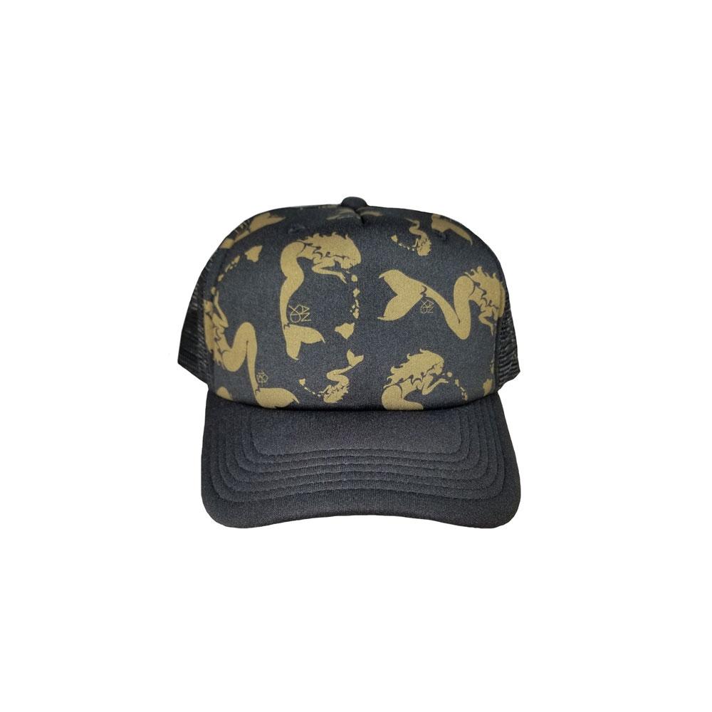Mermaid-Gold-Pattern-Black-Foam-Trucker-Hat