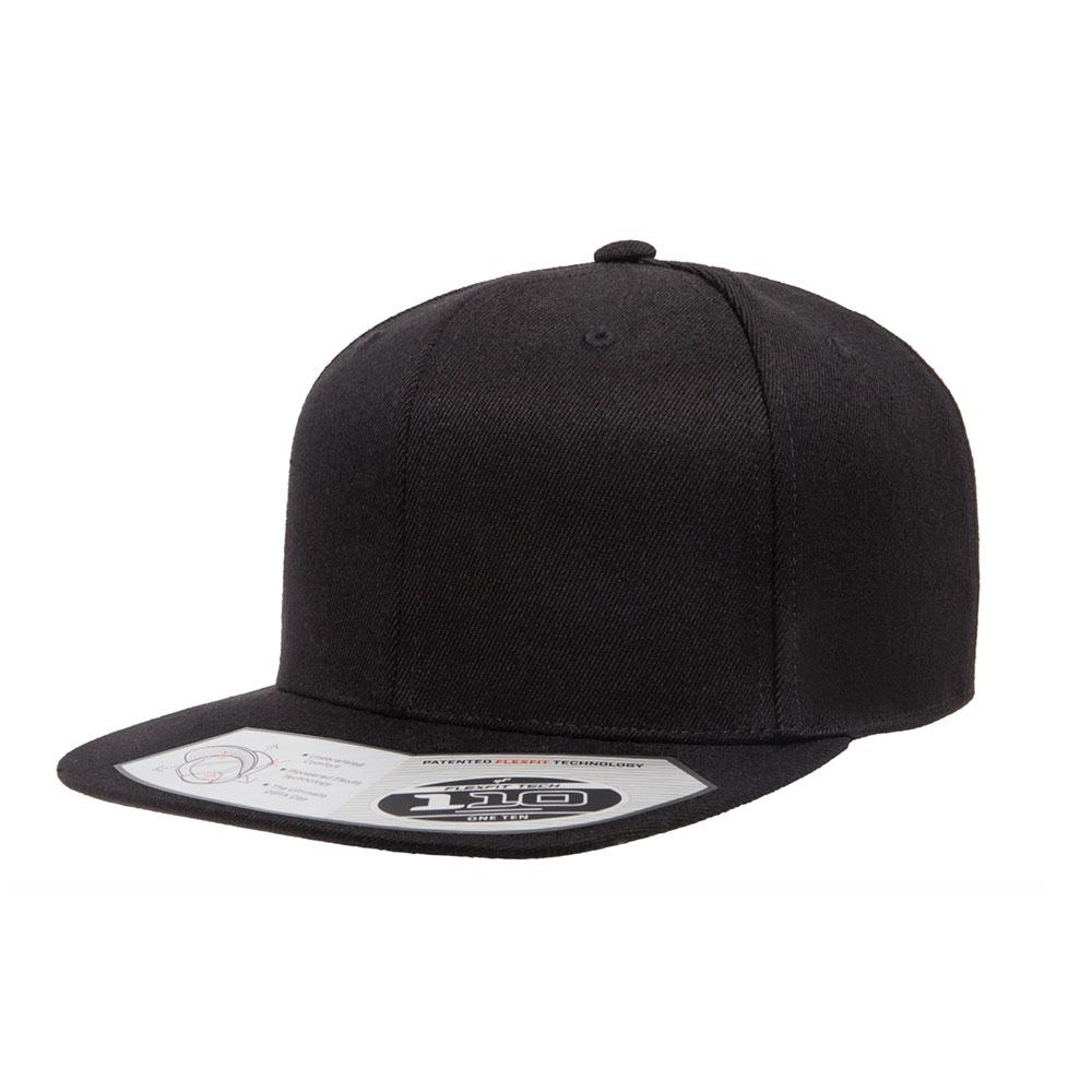 Flexfit-110F-Flatbill-Snapback-Black-Hat