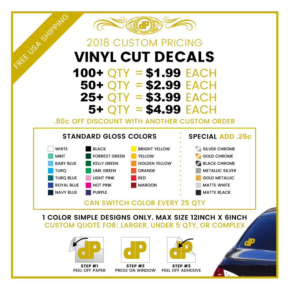 Custom Decals Double Portion Supply - Vinyl decal pricing