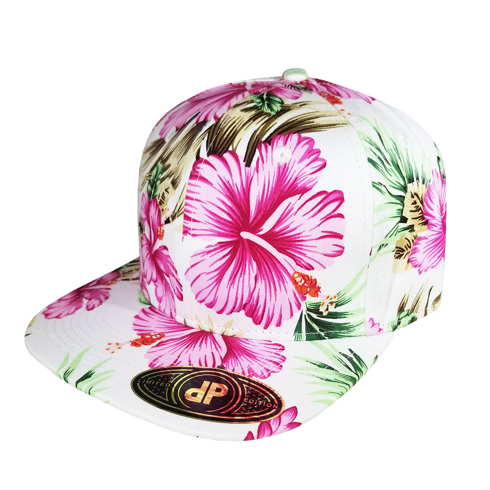 All-Full-Pink-White-Floral-Snapback-Hat