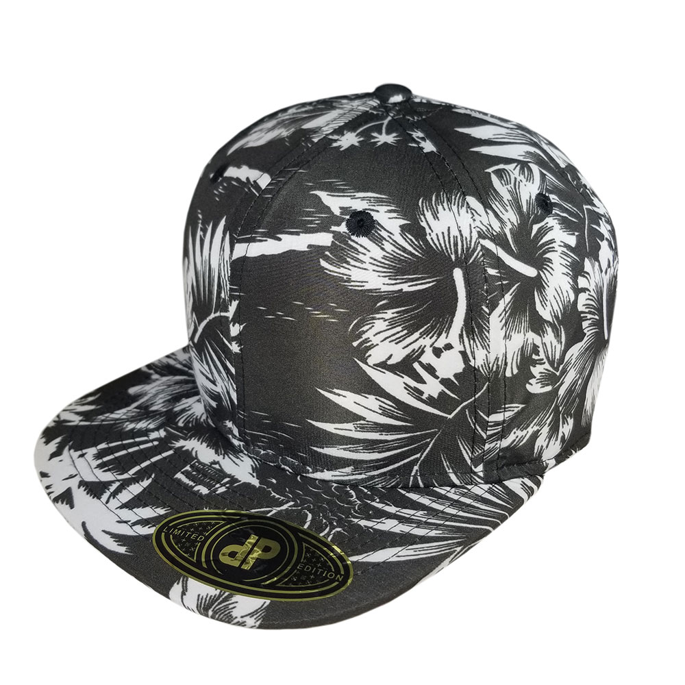 Full-All-Black-and-White-Floral-Flatbill-Snapback-Hat