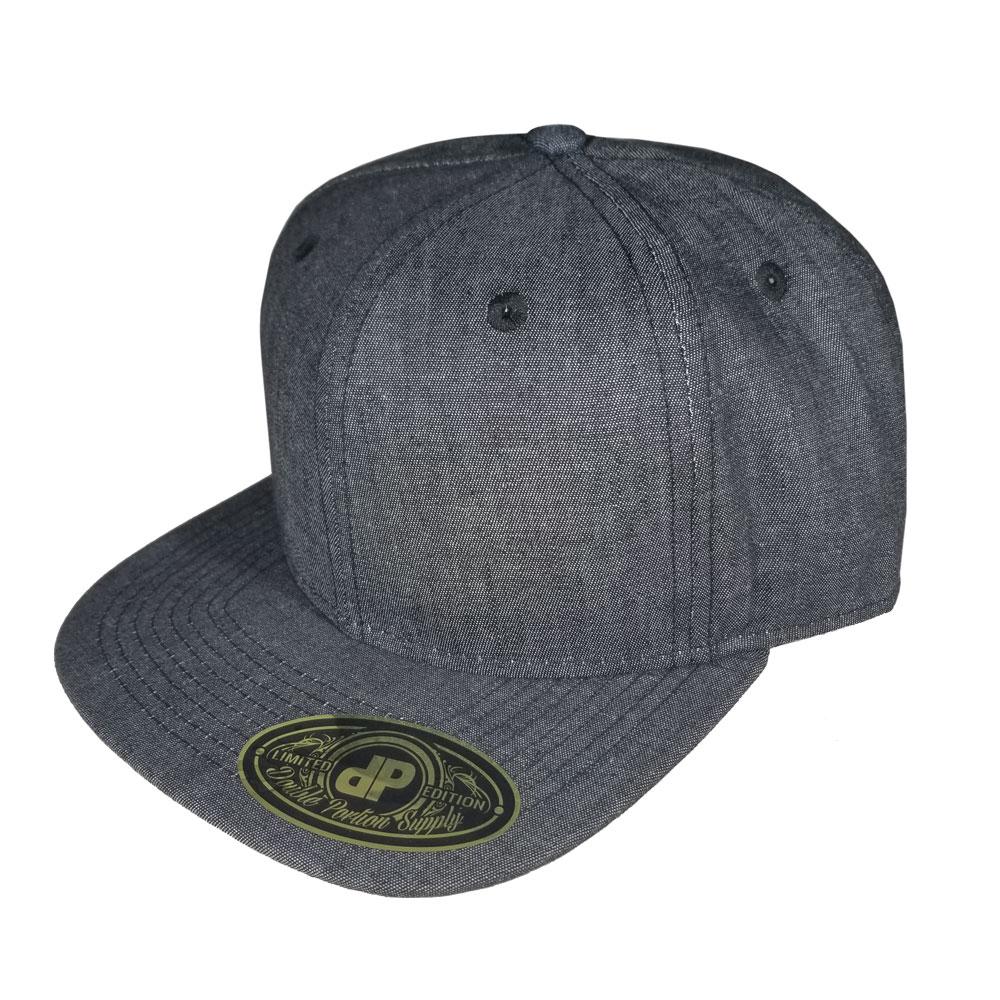 Solid-Black-Denim-Flatbill-Snapback-Hat