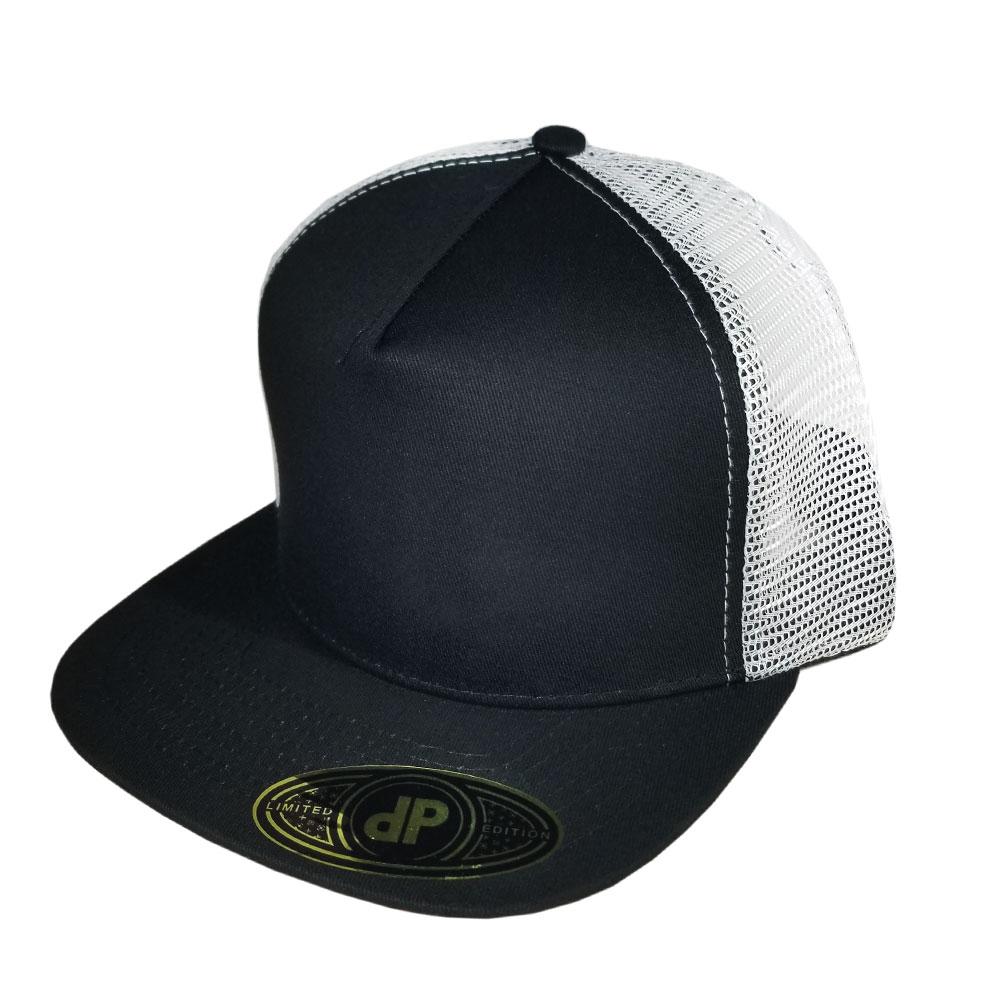 Black-White-Mesh-Flatbill-Snapback-Hat
