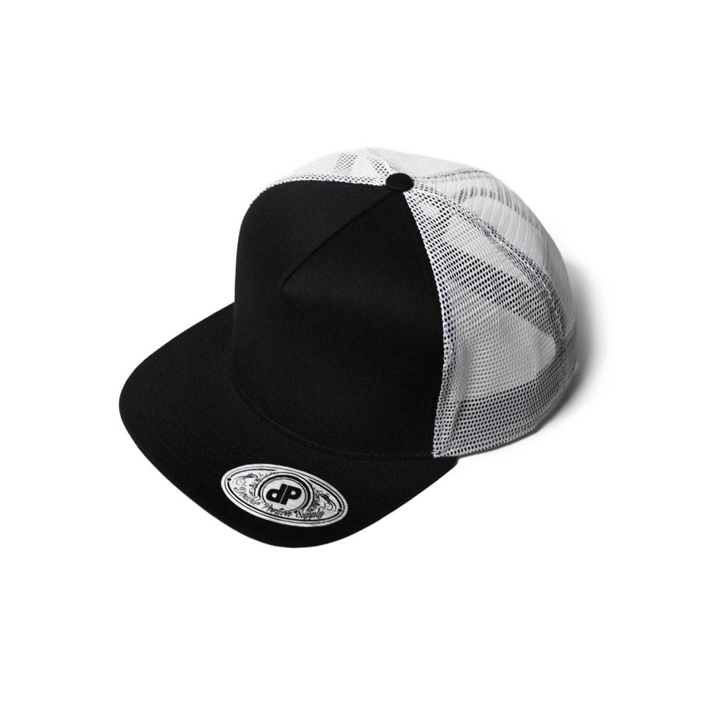 85b9e5f57b6e0 Blank Hat Snapback Flatbill  Black   White Mesh