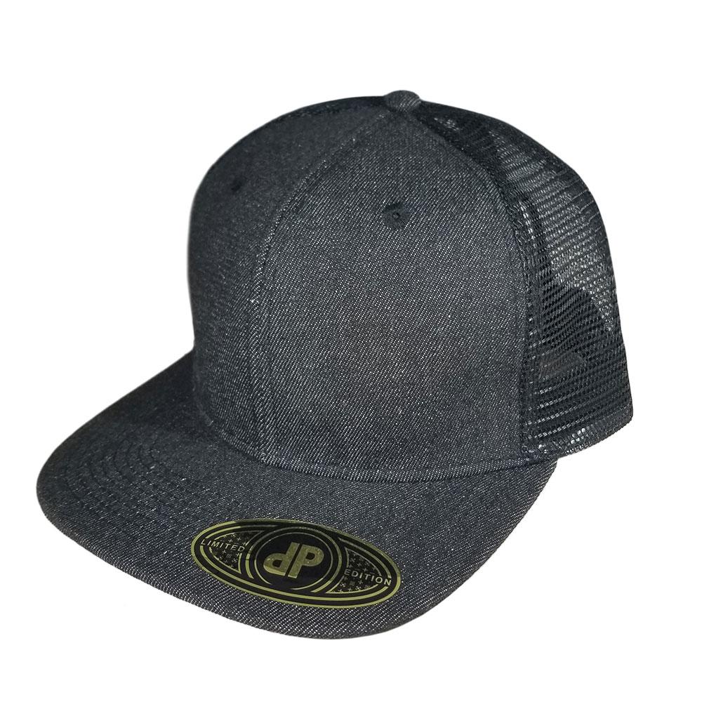 Black-Denim-Mesh-Snapback-Hat