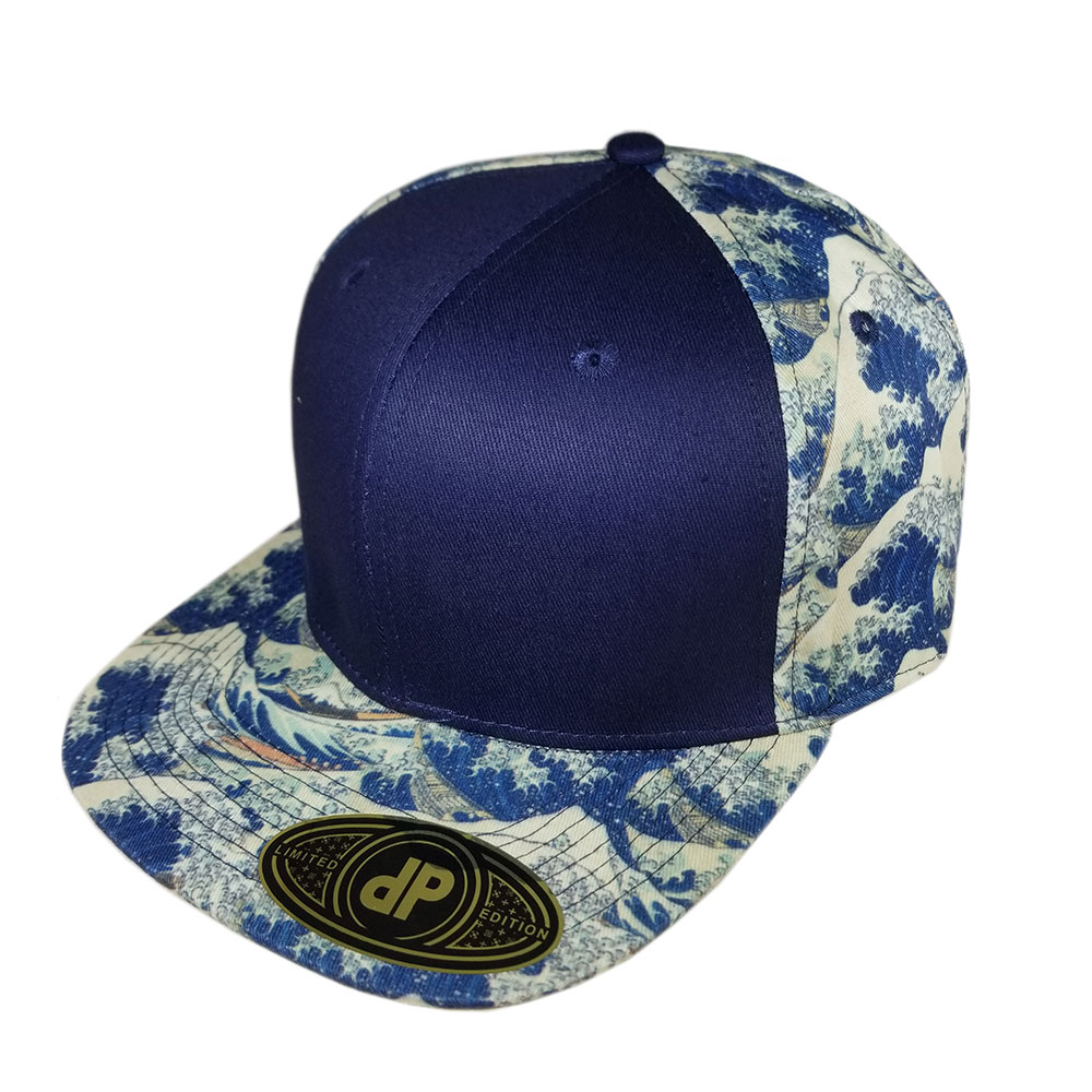 Blue-Japanese-Wave-Flatbill-Snapback-Hat