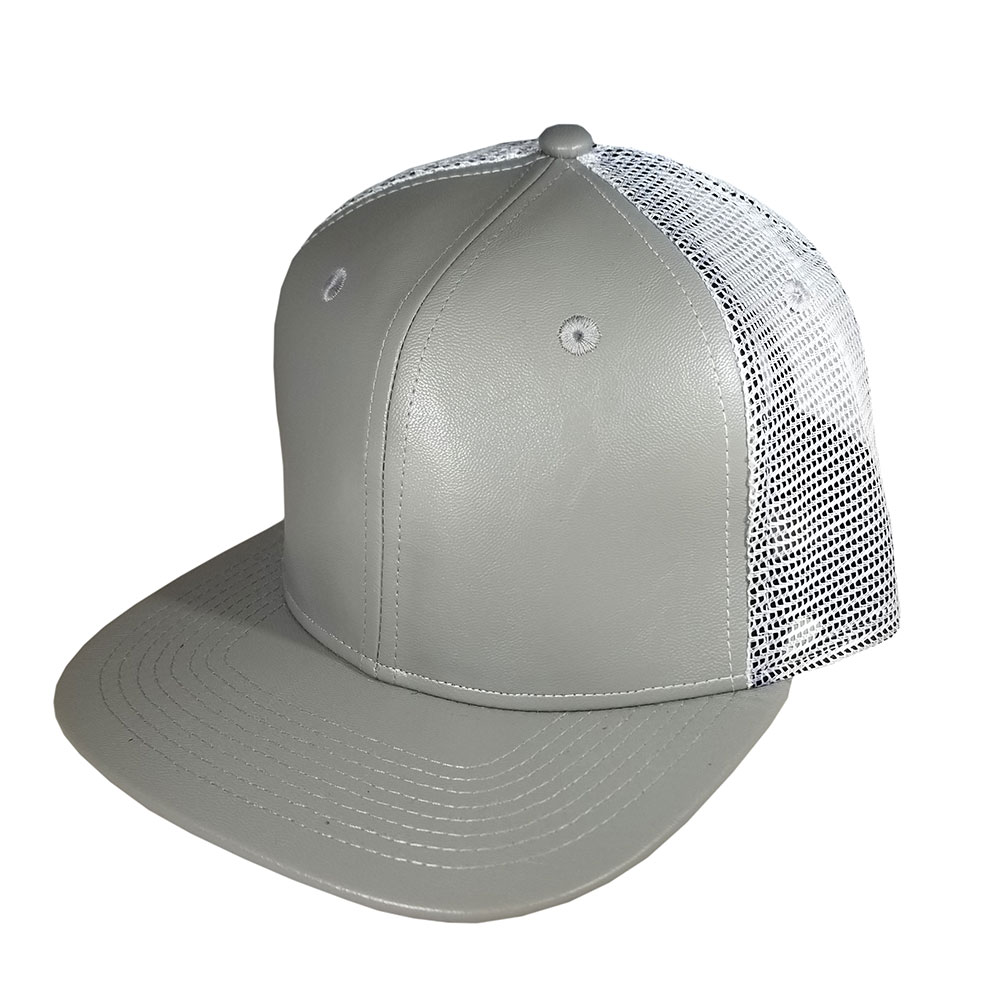 Gray-Grey-Leather-White-Mesh-Snapback-Hat