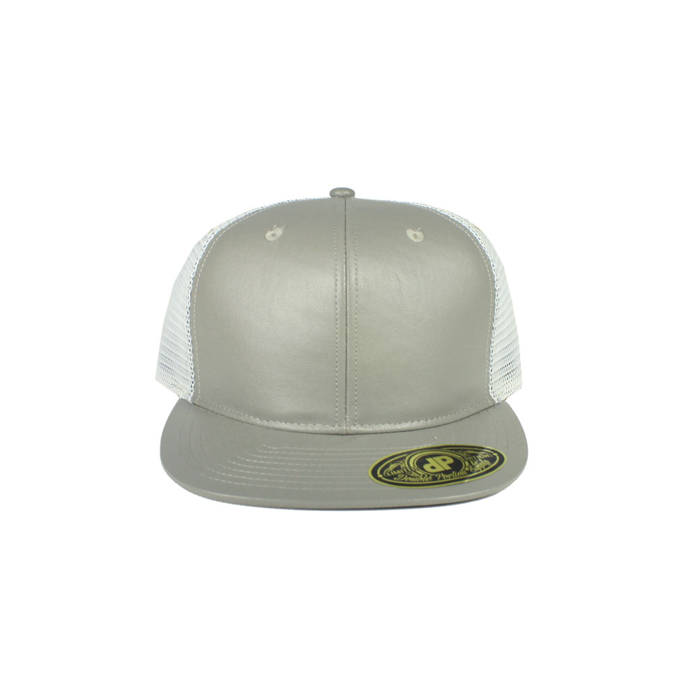 Gray-Leather-White-Mesh-Snapback