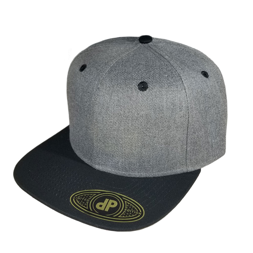 Dark-Heather-Black-Flatbill-Snapback-Hat