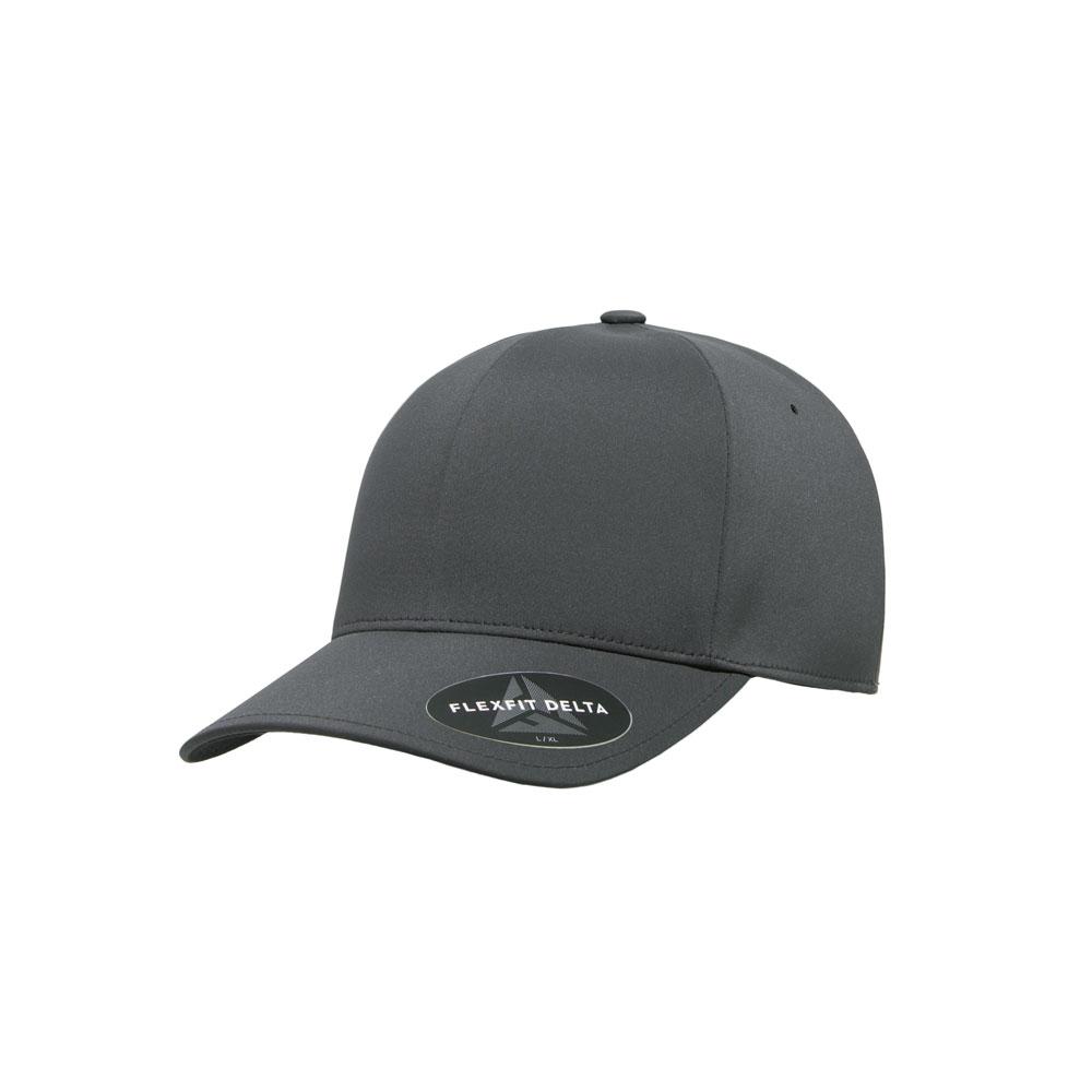 Blank Hat: Flexfit Delta 180 Solid Dark Grey Curved Bill Fitted (2 Sizes)