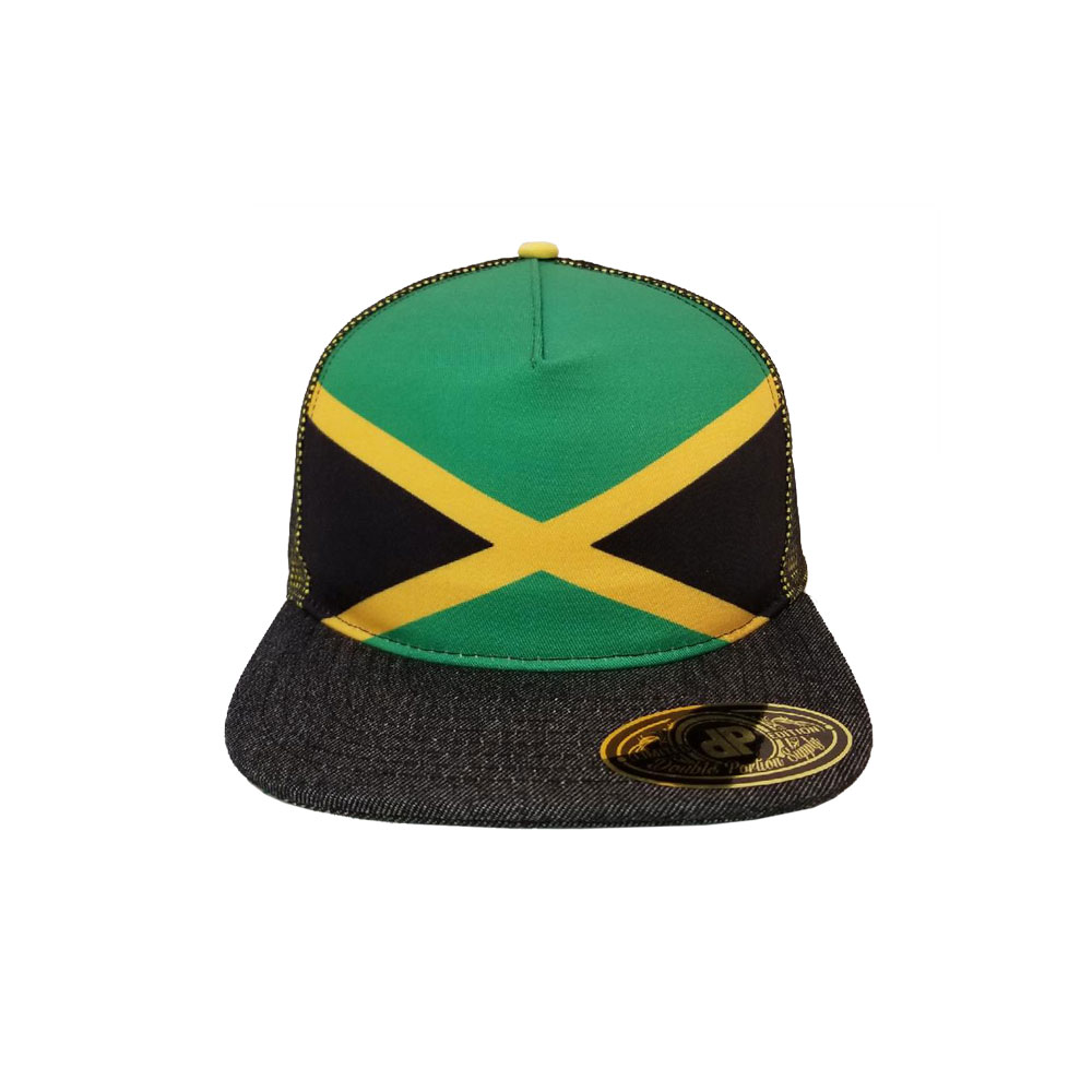 a58fd50f69d Home   All Hats   Snapbacks   Mesh Snapbacks   Blank Hat  Jamaican Flag    Denim Flatbill Snapback