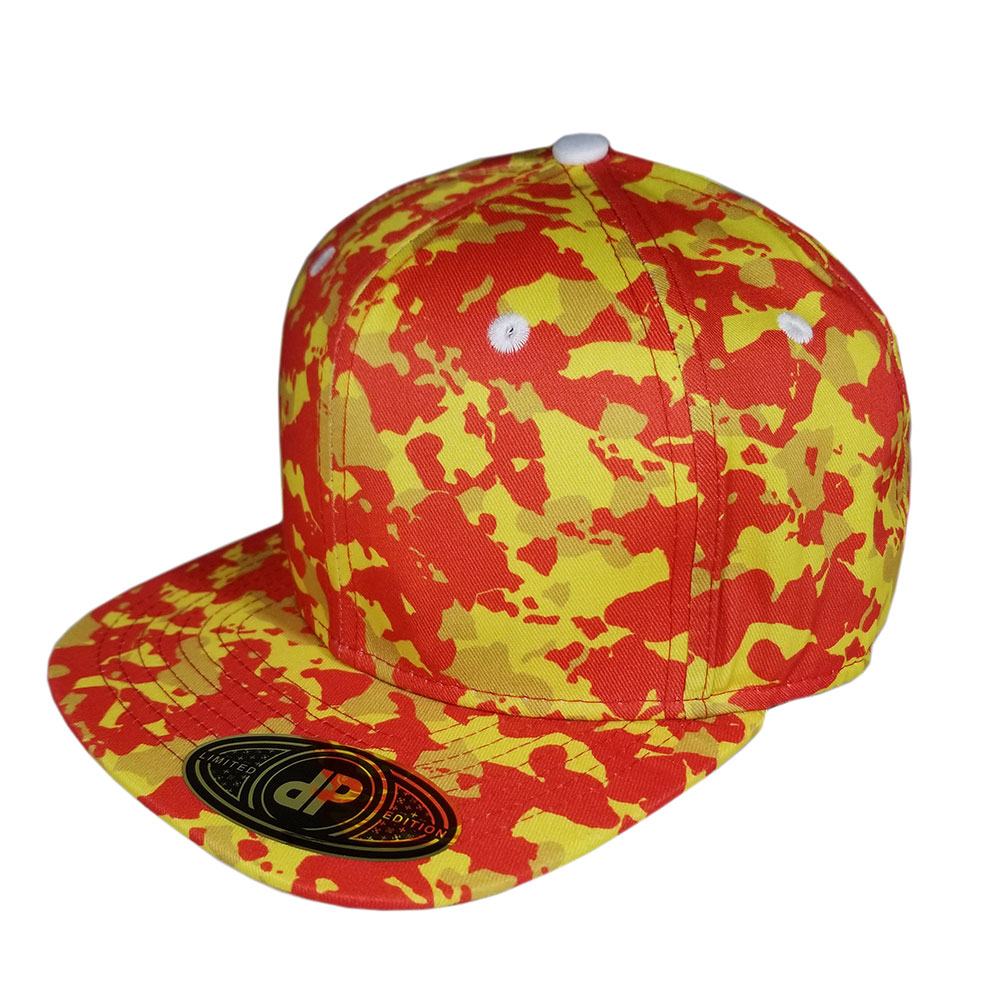 Red-Orange-Yellow-Island-Camo-Flatbill-Snapback-Hat