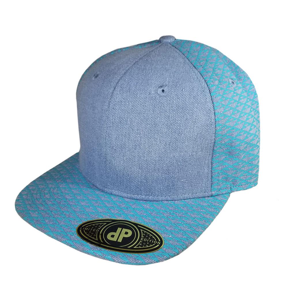 Blue-Denim-Triangles-Snapback-Hat