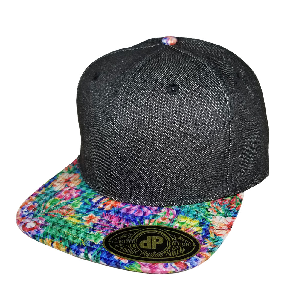 Denim-Floral-Triangles-Snapback-Hat