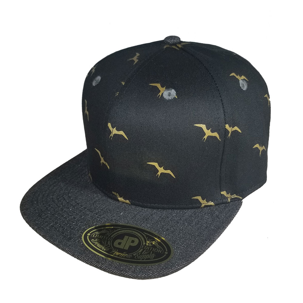 Iwa-Black-Denim-Gold-Snapback-Hat