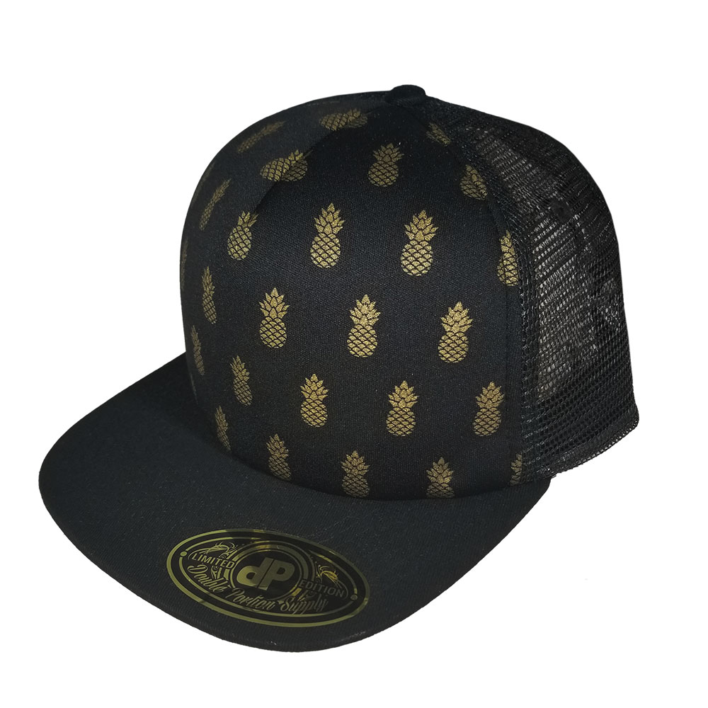 Golden-Pineapple-Black-Mesh-Snapback